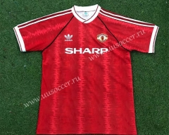 91-92 Retro Version Manchester United Home Red Thailand Soccer Jersey AAA-503