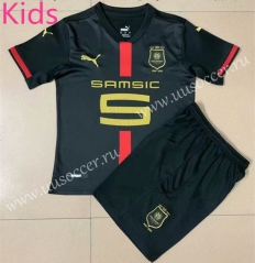 120th Commemorative Edition Stade Rennais Away Black Kids/Youth Soccer Uniform-AY