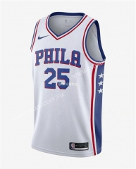 NBA Philadelphia 76ers White V Collar #25 Jersey-311