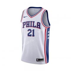 NBA Philadelphia 76ers White V Collar #21 Jersey-311
