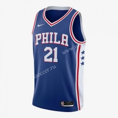 NBA Philadelphia 76ers Blue V Collar #21 Jersey-311