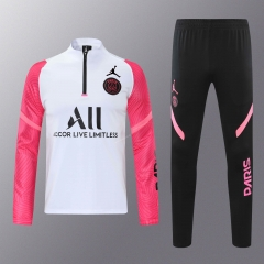 2020-2021 Jordan Paris SG White With Pink Sleeve Thailand Soccer Tracksuit Uniform-418
