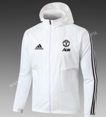 2021-2022 Manchester United White Thailand Wind Coat With Hat-GDP