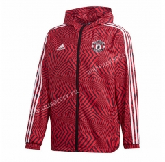 2021-2022 Manchester United Black & Red Wind Coat With Hat-GDP
