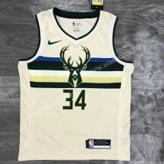 Retro Version NBA Milwaukee Bucks White #34 Jersey-311