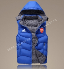 2021-2022 Arsenal Blue Double-sided Cotton Vest With Hat-GDP