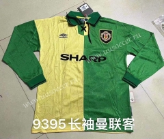 93-95 Retro Version Manchester United Yellow & Green Thailand LS Soccer Jeesey AAA-422
