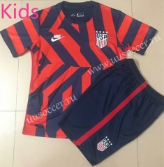 2021-22  USA Away Red & Blue Kids/Youth Soccer Uniform-AY
