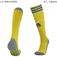 2020-2021 Sweden Home Yellow Thailand Soccer Socks