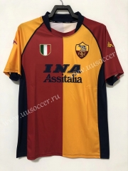 00-01 Retro Version AS Roma Red & Yellow Thailand Soccer Jersey AAA-811