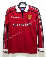 98 Retro Version Manchester United Home Red Thailand LS Soccer Jeesey AAA-811