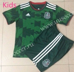 2021-22 Mexico Home Green Youth/Kids Soccer Uniform-AY