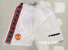 98 Retro Version Manchester United White Thailand Soccer Shorts-826