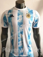 Player Version 2021-2022 Argentina Home White & Blue Thailand Soccer Jersey AAA