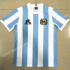 1986 Retro Version  Argentina Home White & Blue Thailand Soccer Jersey AAA-818