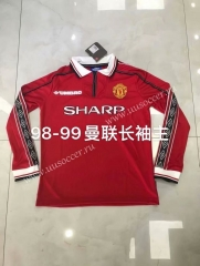 98-99 Retro Version Manchester United Home Red Thailand LS Soccer Jeesey AAA-826
