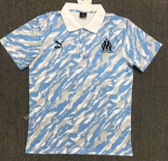 2021-22 Olympique de Marseille White & Blue Thailand Polo Shirts-803
