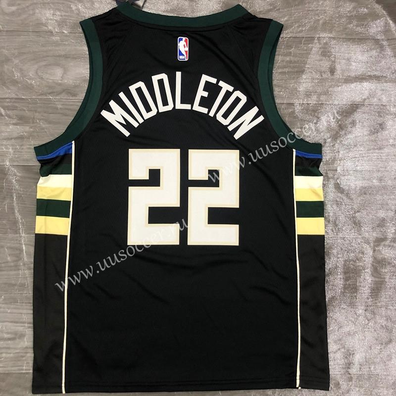 2020-2021 NBA Milwaukee Bucks Black #22 V Collar Jersey ...