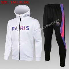 2021-22 Paris SG Jordan White Soccer Jacket Uniform With Hat-815