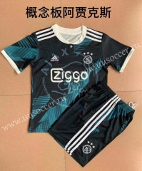 2021-22 Ajax  Black & Gray Youth/Kids Soccer Uniform