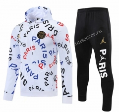 2021-2022 Jordan Paris SG White Thailand Soccer Tracksuit Uniform With Hat-418