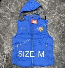 2021-2022 Barcelona Blue Double-sided Cotton Vest With Hat-GDP