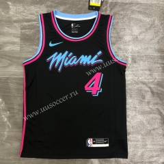 2020-2021 NBA Miami Heat Black Round collar #4 Jersey-311