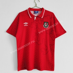 1992-94 Retro Version Wales Home Red Thailand Soccer Jersey AAA-C1046