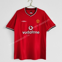 2000-02 Retro Version Manchester United Home Red Thailand Soccer Jersey AAA-C1046