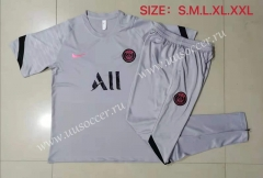 2021-22 Nike Paris SG Light Gray Shorts Sleeve Thailand Soccer Tracksuit Uniform-815