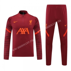 2020-2021 Liverpool Dark Red Thailand Soccer Tracksuit Uniform-418
