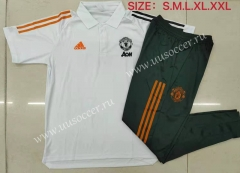 2021-22 Manchester United White Thailand Polo Uniform-815
