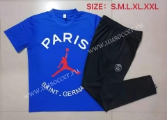 2021-22 Jordan Paris SG Blue Shorts Sleeve Thailand Soccer Tracksuit Uniform-815
