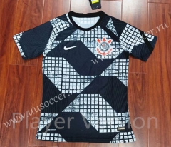 Player Version 2021-2022 Corinthian Black & White Thailand Training Soccer Jersey-807