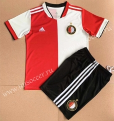 2021-22 Feyenoord Rotterdam Home Red & White Youth/Kids Soccer Uniform-AY