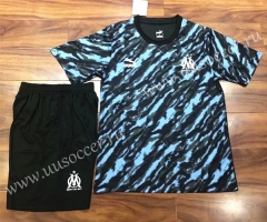 2021-22 Olympique Marseille Black & Blue Training Soccer Uniform-709