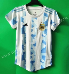 2021-22 Argentina Home Blue & White Female Thailand Soccer Jersey-802