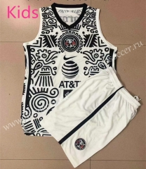 2021-22 Club America 2nd Away White & Black Kids/Youth Soccer Uniform Vest-AY