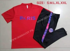 With Adv 2021-22 Jordan Paris SG Red Shorts Sleeve Thailand Soccer Tracksuit Uniform-815