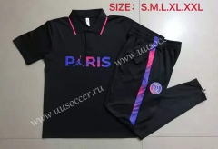 With Adv Front 2021-2022 PSG Black Thailand Polo Uniform-815