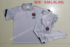 2021-2022 Jordan PSG Light Gray Thailand Polo Uniform-815