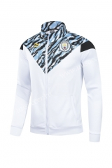 2021-22 Manchester City White High Collar Thailand Soccer Jacket Top-GDP