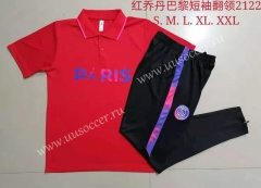 With Adv Front 2021-2022 PSG Red Thailand Polo Uniform-815