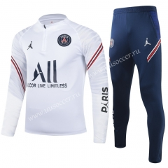 2021-2022  Paris SG White Youth/Kids Thailand Soccer Tracksuit Uniform-GDP