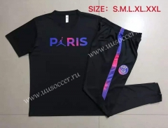 With Adv 2021-22 Jordan Paris SG Black Shorts Sleeve Thailand Soccer Tracksuit Uniform-815