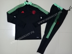 2021-22 Manchester United Black Thailand Tracksuit Uniform-GDP