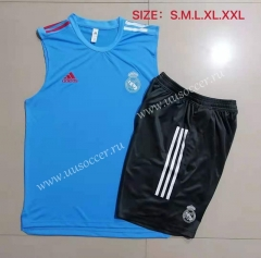 2021-22 Real Madrid Light Blue Thailand Soccer Vest Uniform-815