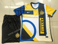 2021-22 Inter Milan 3rd Away Yellow & White & Blue Soccer Uniform