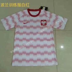 2021-22 Poland Red & White Traning Thailand Soccer Jersey