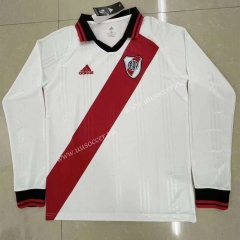 Retro version CA River Plate Home White  LS Thailand Soccer Jersey AAA-818